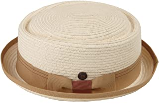 Dasmarca Mens Summer Paper Straw Telescope Crown Retro Porkpie Hat