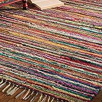 Alfombra de trapo Indian Arts de comercio justo con 100% materiales reciclados, multicolor 60 x 90cm multicolor