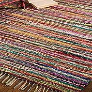 Indian Arts Fair Trade Rag Rug Hand Loom 100% Recycled Materials Multicolour (60 x 150cm)