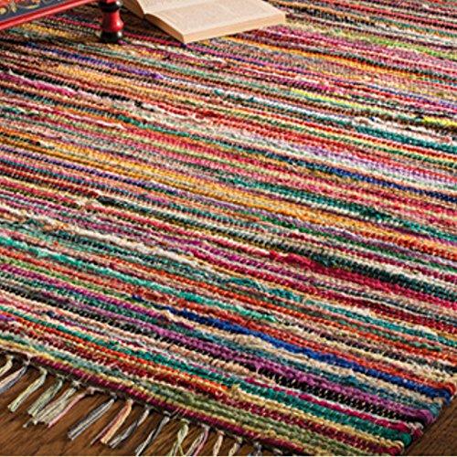 Indian Arts Fair Trade Flickenteppich, handgemacht, aus indischer 100% recycelter Baumwolle, bunt, Textil, Multi, 60 x 90cm