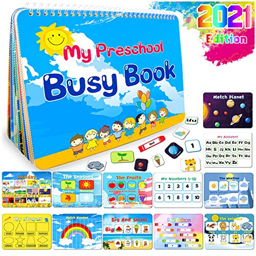 HeyKiddo Montessori Toys for Toddlers, Newest Version Busy Book for Kids,Preschool Activity Binder, 12 Themes Educational Learning Book for Autism & Special Needs, Anti-Cutting Edge Technology
