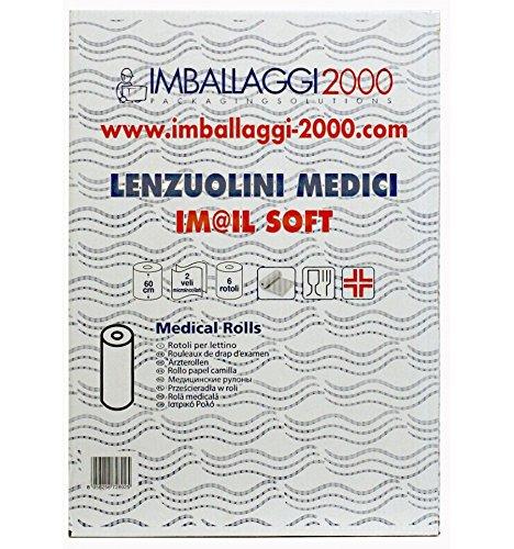 IMBALLAGGI 2000 - Rotolo Carta Lettino Lenzuolino Lenzuolini Medici Massaggi Medico 3 Pezzi