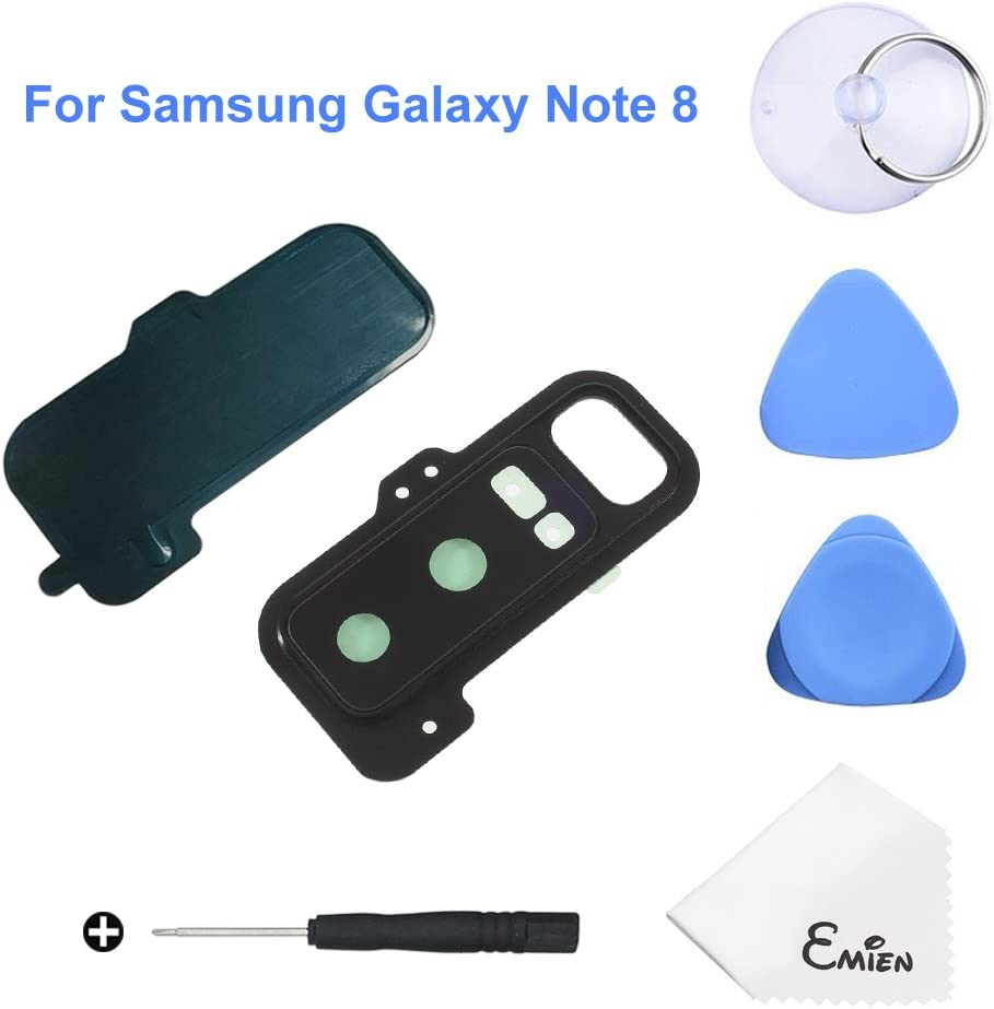 EMiEN Back Camera Glass Lens Cover + Rear Camera Bezel with Adhesive + Flash Cover Pre-Installed Replacement Parts + Repair Tool Kit for Samsung Galaxy Note 8 N950 N950F N950A N950T
