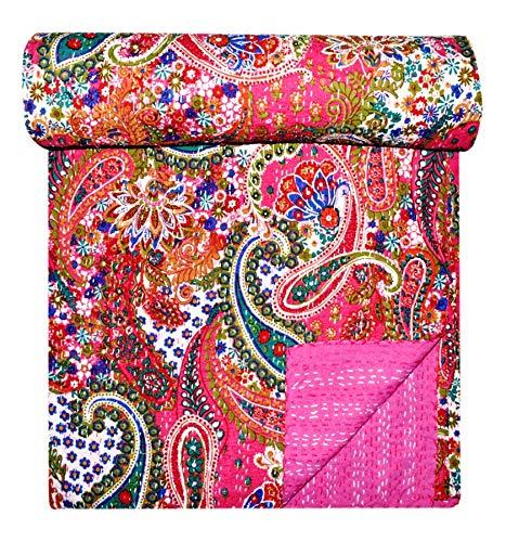 GANESHAM Ropa de cama india floral para decoración del hogar Kantha Vintage Stich Decorativo Kantha Colcha Bohemia hecha a mano de lujo mantas (228 x 258 cm)