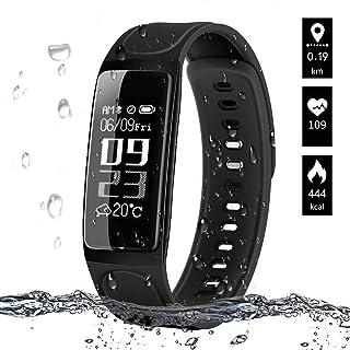 YLJYJ Actividad Reloj Inteligente, Bluetooth 4.0 Monitor de Hombre Mujer IP67 Brazalete de OLED Pantalla Análisis de Calorías y Dormir Compatible para Android iOS