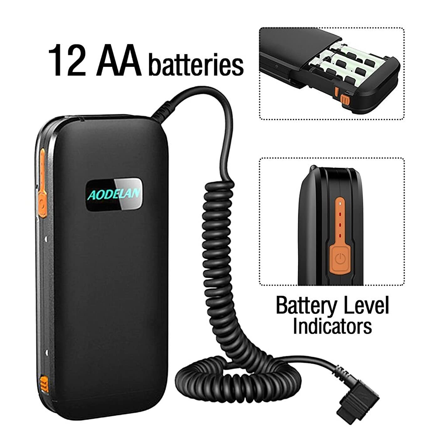 AODELAN External Flash Battery Pack Battery Power Bank for Sony HVL-F60RM/ F56AM / 58AM / F60M Replace Sony FA-EB1AM & FA-EB1 (12 AA Batteries)