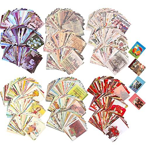 Set de 1000 Pegatinas Washi y Suministros de Diario de Papel Vintage de Álbum de Recortes, Incluye 6 Sets, 200 Pegatinas Washi y 800 Papeles de Diario para Scrapbooking (Estilo Romántico)