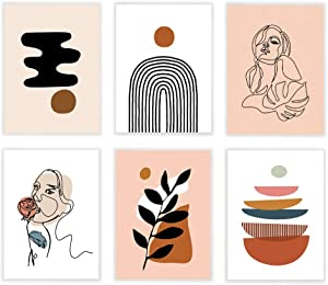 Set of 6 Woman Line Art Prints, Mid Century Modern Poster, Warm Color Wall Décor 11x14 Inch Unframed