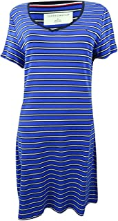Womens Striped V-Neck T-Shirt Dress