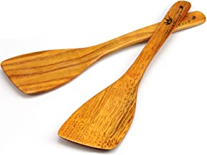 Wooden Spatula for Cooking - 12 Inch Premium Utensils Long Handled, Kitchen Spurtle Set Ideal for Pan and Wok - Wood Turne...