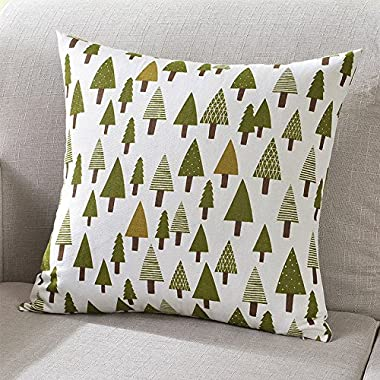 TAOSON Green Trees Pattern Cotton Flax Soft Home Decorative Throw Cushion Cover Pillow Cover Pillowcase with Hidden Zipper Closure Only Cover No Insert 20x20 Inch 50x50cm