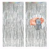 TSHAOUN Paquete de 2 Cortinas Brillantes con Flecos de Aluminio 3ft X 8.3ft Cortinas MetáLicas de Oropel Para Cumpleaños, Bodas, Fiestas, Navidad Decoraciones (Plata)
