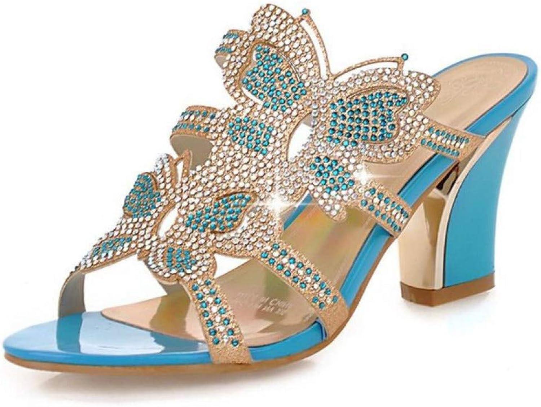 MEIZOKEN Womens Glitter Rhinestone Chunky Heel Sandals Fashion Bowknot Cutout Open Toe Party Pump Slippers