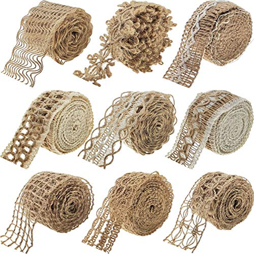 9 Packs Jute Ribbon Fabric Ribbon Total 18 Meters for Crafts Lace Craft Ribbon Burlap Wraping Gifts Party Holiday and Rustic Wedding Decorations
