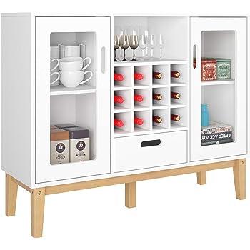HOMECHO Aparador Moderno con Botellero para 12 Botellas Armario de Vino de Gran Capacidad para Almacenamiento para Salón Comedor Cocina de Madera Blanco 100 x 33 x 80.5 cm: Amazon.es: Hogar