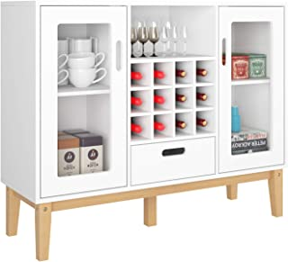 HOMECHO Bar Wine Cabinet with 12 Bottles Holder Buffet for Liquor Cupboard Sideboard Table with Drawer, Adjustable Storage Rack and Wood Legs for Home, White
