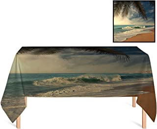 SATVSHOP Heavy Weight Cotton Canvas /55x55 Square,Beach Tropical Seashore in Sri Lanka Exotic Asian Coastline Palm Trees and Waves Blue Sand Brown Green.for Wedding/Banquet/Restaurant.