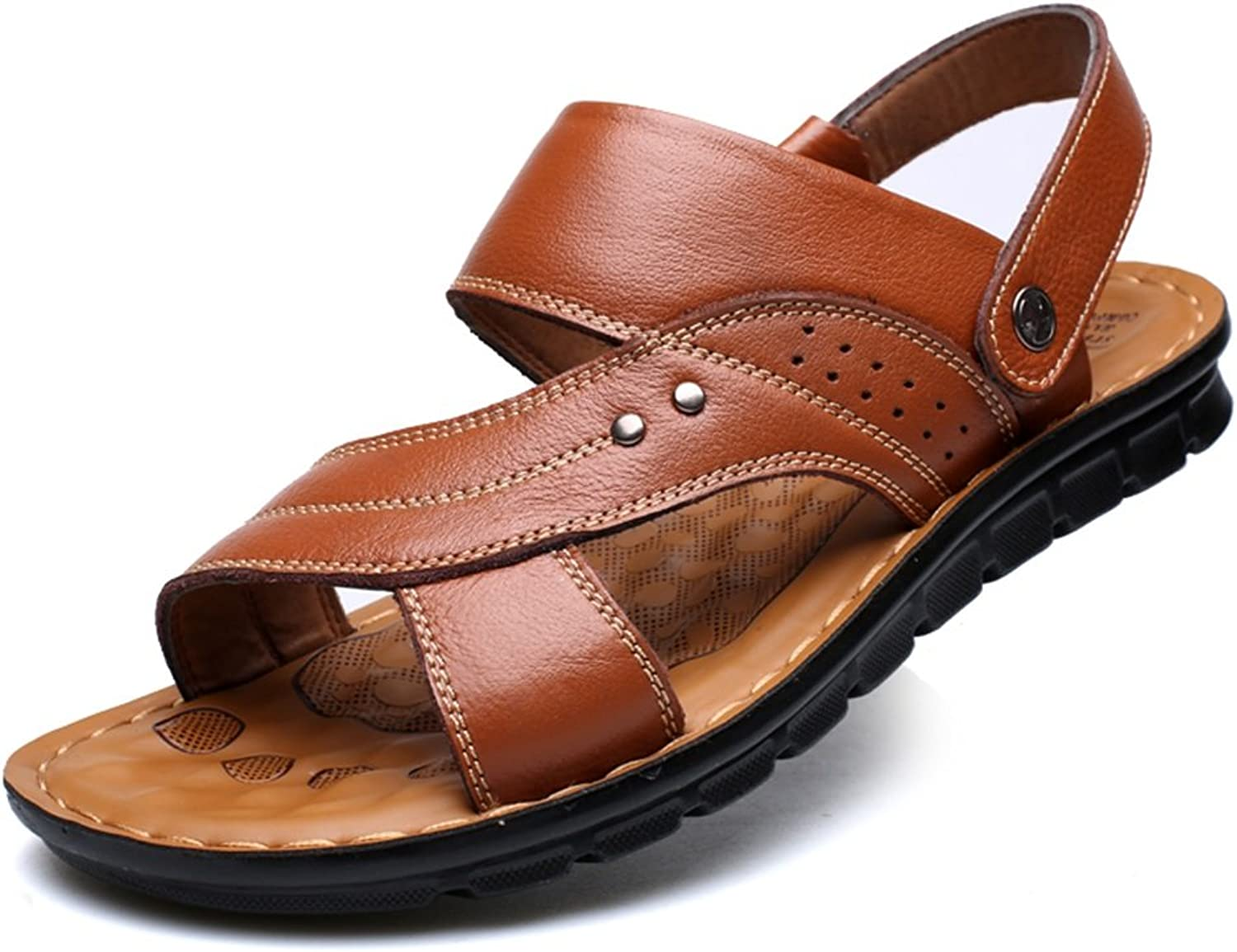 QIDI Sandals Male Polyurethane Open Toe Large Size Non-slip Casual Summer Beach shoes Slippers (color   Light Brown, Size   EU39 UK6)