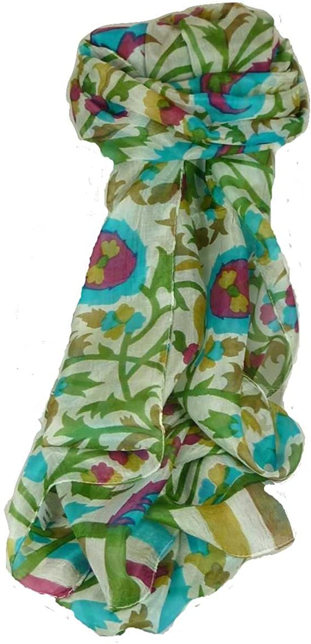 Mulberry Silk Max 90% OFF Contemporary Long Seattle Mall Scarf Pashmina Mooli Peony by