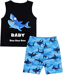 Youmymine Toddler Boy Kids Clothes Sleeveless T-Shirt Fashion Cartoon Shark Letter Vest Tops+Shorts Pants Outfits Set