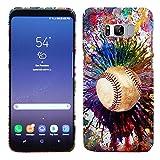 Samsung Galaxy S8 Case - Vintage Color Baseball Hard Plastic Back Cover. Slim Profile Cute Printed Designer Snap on Case by Glisten