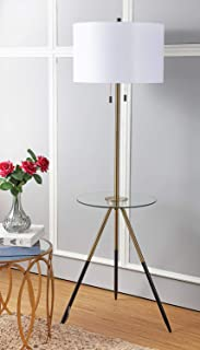 Safavieh FLL4020A Home Collection Morrison Brass Gold and Black Side Table Floor Lamp,