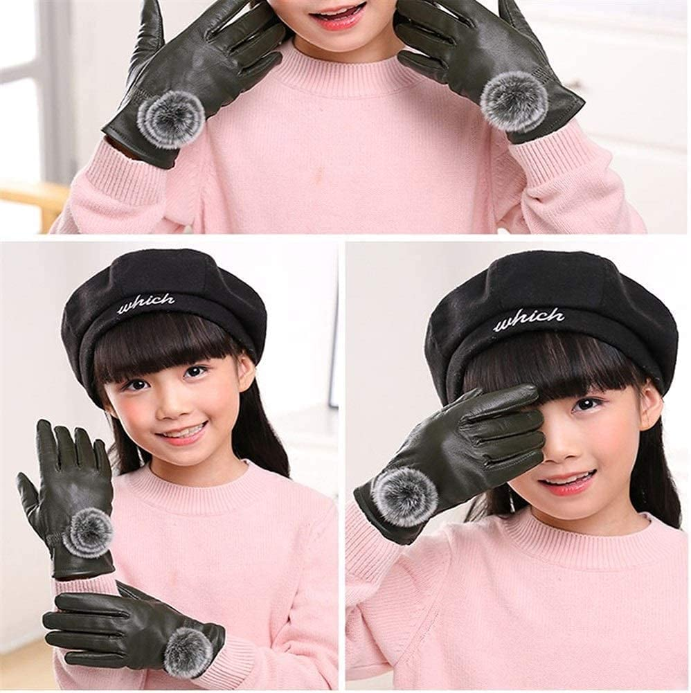 RSQJ Children's Leather Gloves, Girls, Autumn and Winter Plus Velvet Thick Five Fingers Play Snow Waterproof Warm Student Bicycle Baby Leather (Color : Orange, Size : XX-Large)