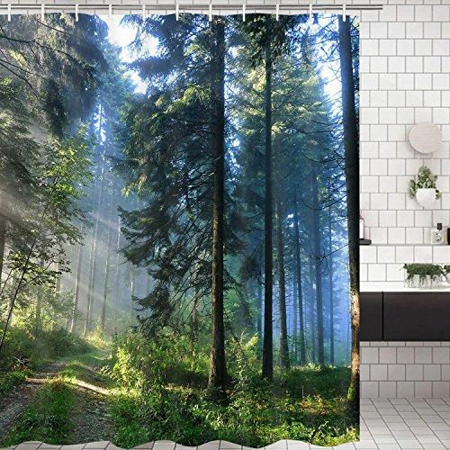 Alishomtll Wald Duschvorhang, Grün Antischimmel Duschvorhänge Textil Wasserdicht Shower Curtains Badewanne Waschbar mit 12 Haken, 175x178 cm