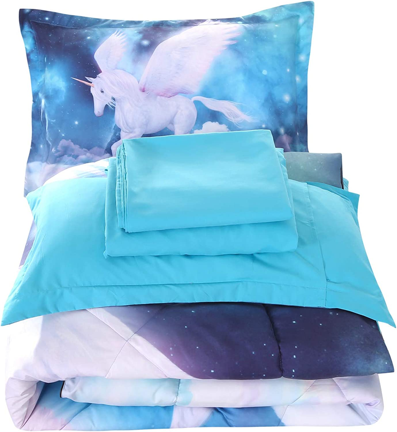 Wowelife 3D Queen Fly Unicorn Comforter Sets 5 Piece Girl Bedding Set Unicorn Green Bedspreads with Comforter, Flat Sheet, Fitted Sheet and 2 Pillow Cases for Teens(Green Unicorn, Queen)