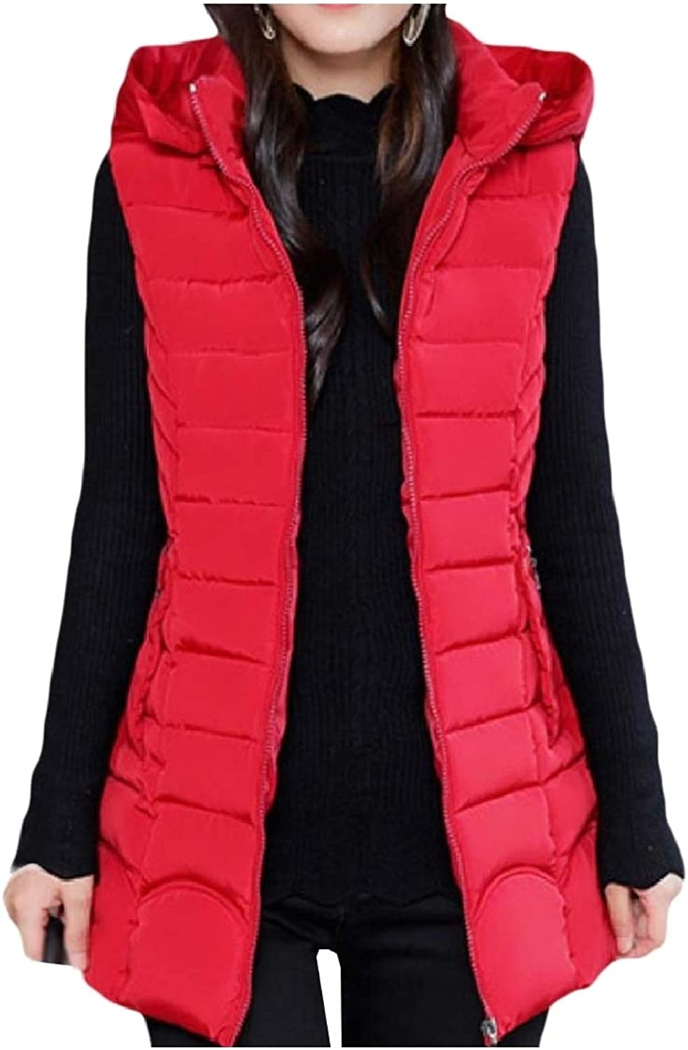 Coolhere Women Jacket Hoodie Vest Padded Thickened Fashion Outdoor Coat