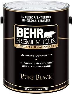 BEHR Premium Plus 1-gal. Pure Black Hi-Gloss Enamel Exterior/Interior Paint