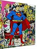 Magic Canvas Art - Cuadro Pop Art Superman Hero Hero Hero Lienzo de 1 pieza Impresión de alta calidad Cuadro moderno de pared de diseño de pared de diseño de pared de 40 x 30 cm