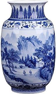 SUNTAOWAN Inicio China Pintada a Mano del Paisaje Azul y Blanco jarrón de Porcelana Fina Porcelana Azul Flor Blanca Pintad...