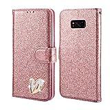 QLTYPRI Samsung Galaxy S8 Plus Hülle, Glitzer Handyhülle PU Ledertasche TPU Etui Handschlaufe Kartenfach mit Eingelegten Liebe Herz Diamond Flip Schutzhülle für Samsung Galaxy S8 Plus - Roségold