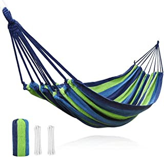 V VONTOX Hammock, Comfortable Canvas Hammock Can Bear 500 Pounds-2 People,142 x 60 inch, Lightweight Portable, Use for Indoors and Outdoor Garden, Backyard, Camping