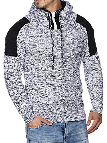 Tazzio 16483 - Jersey de punto grueso para hombre, con capucha Weiß S