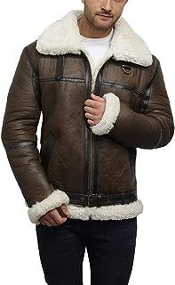 Men's Sheepskin Jacket Aviator Genuine Leather Shearling Bomber Flying Pilot