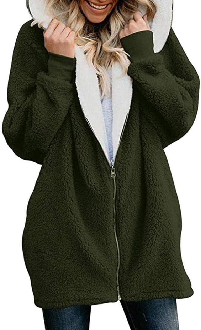 Onsoyours Damen Strickfleecejacke Fleecejacke mit Kapuzen Reißverschluss Winterjacke Klassische Einfarbig Plüschjacke Teddy Mantel Warm Kapuzenjacke Parka Z Grün