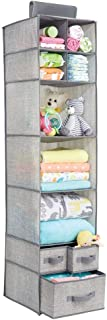 mDesign Soft Fabric Over Closet Rod Hanging Storage Organizer with 7 Shelves and 3 Removable Drawers for Child/Kids Room o...