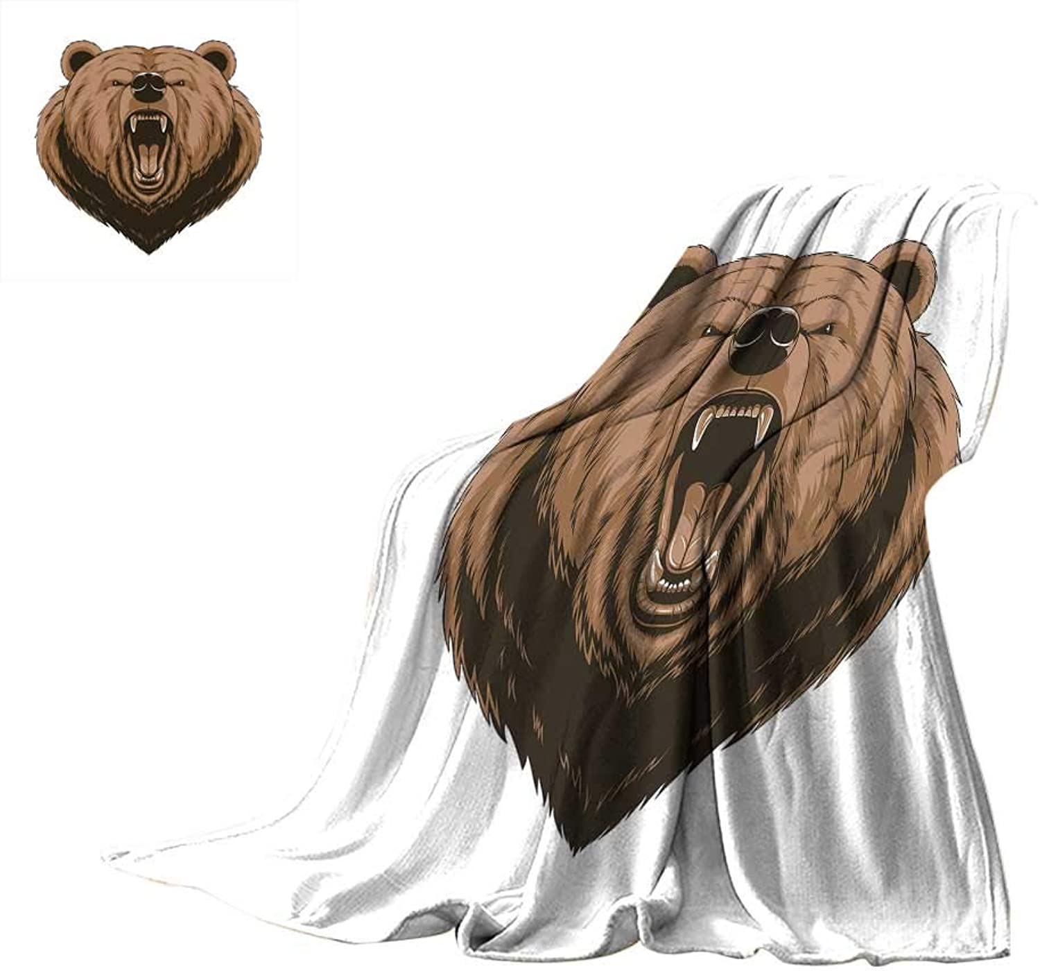 RenteriaDecor Bear,Soft Lightweight Blanket Angry Scary Face Mascot Head Powerful Vicious Beast Cartoon Mascot with Fangs Comfortable and Warm Beach Blanket W60 x L50 inch