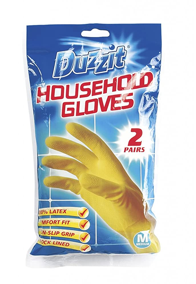 Duzzit Household Gloves Rubber Gloves 2 Pairs Medium