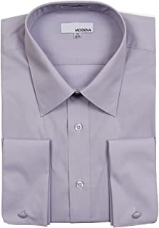Modena Men's Regular Fit French Cuff Solid Dress Shirt - Colors (All Sizes)