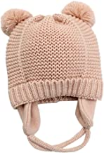 hibshaby Baby Beanie Warm Hat-Infant Boys Hat Cute Bear Knit Toddler Girls Earflap Soft Warm Fall Winter