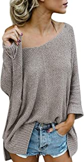 Women Autumn Sexy One Shoulder Solid Color Loose Sweater Long Sleeve Top Blouse Uefaof Pullovers