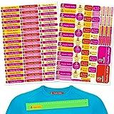 INDIGOS UG Pegatinas de nombre - Set - 160 piezas - Hada - 80 etiquetas para planchar + 80 sticker - escuela y jardín de infancia