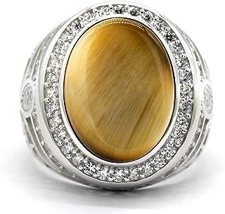 خاتم عين النمر من Dinuo للرجال من حجر طبيعي فضي دائري زركونيا مكعب (CZ) خاتم تركي بطراز عتيق خاتم زفاف مجوهرات مقاس 7-12