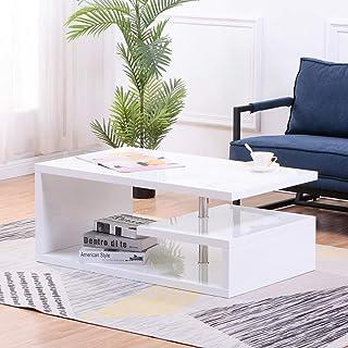 GOLDFAN Couchtisch Weiß Wohnzimmertisch Moderne Quadratisch Tisch Kaffeetisch mit Hochglanz für Wohnzimmer Tisch