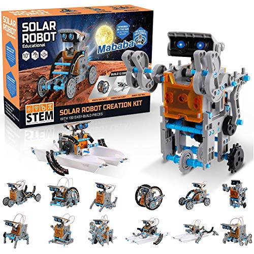 mababa 12-in-1 Robot Building Kit for Kids, STEM Educational Creation 190-Piece Kit with Solar Powered Motorized Engine and Gears, Science Experiment Set for 8 Years Above
