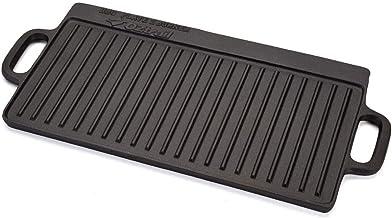 Plancha Rectangular de Hierro Fundido Acanalada para 2 quemadores/Fuegos - 2 Burner Oversize BBQ Plate 50x23.5x1.5cm 4kg. Ideal para hornillo de Camping.
