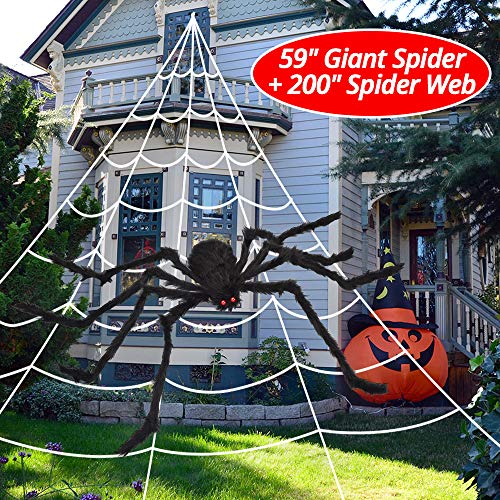 OCATO 200 Halloween Spider Web + 59 Giant Spider Decorations Fake Spider with Triangular Huge Spider Web for Indoor Outdoor Halloween Decorations Yard Home Costumes Parties Haunted House Décor